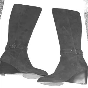 Anne Klein Tall Suede leather wedge heeled boots